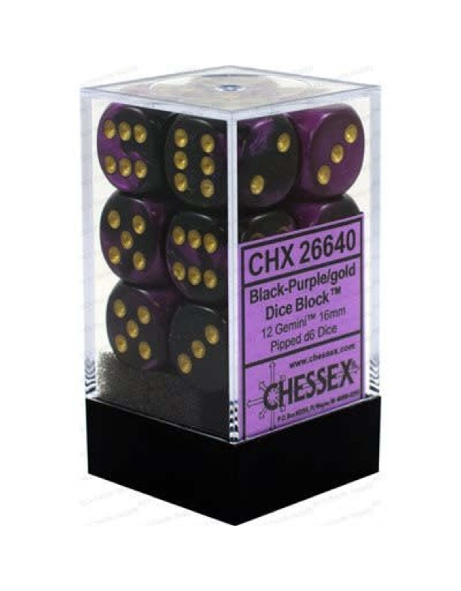 CHESSEX Gemini 12D6 Black-Purple/Gold 16MM (CHX26640) | Eastridge Sports Cards & Games