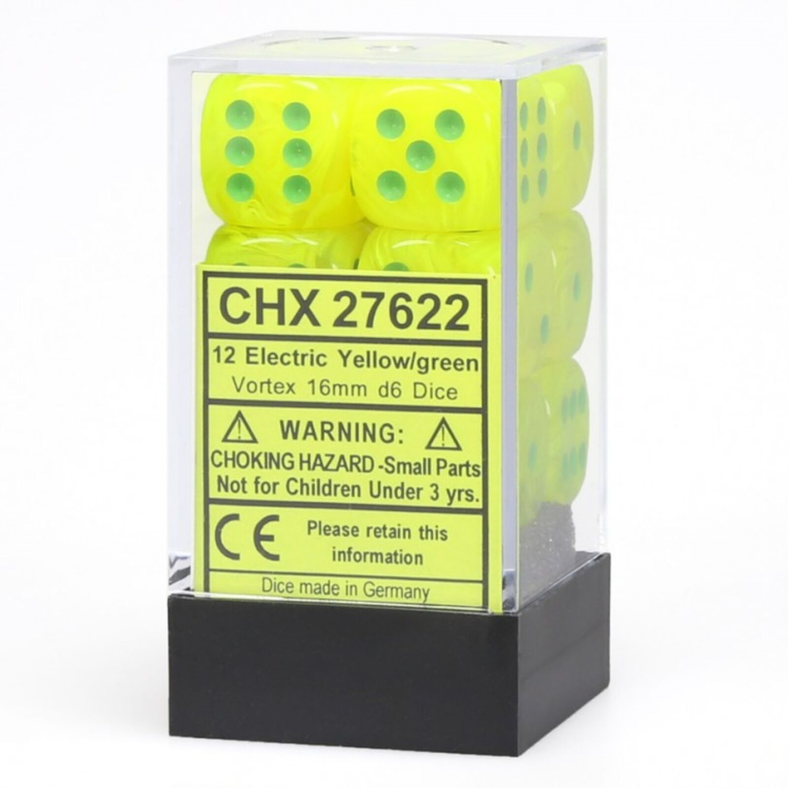 CHESSEX Vortex 12D6 Electric Yellow/Green 16MM (CHX27622) | Eastridge Sports Cards & Games