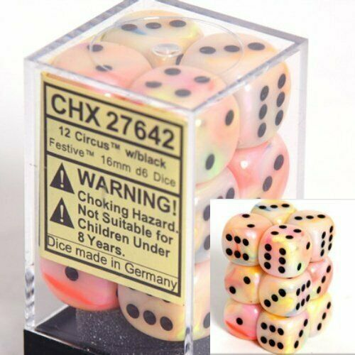 CHESSEX Festive 12D6 Circus/Black 16MM (CHX27642) | Eastridge Sports Cards & Games