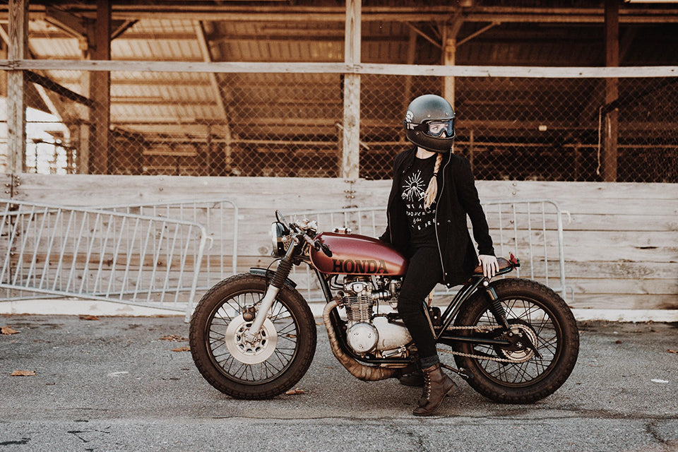 P&Co, pandco, p and co, clark and timms, clark & timms, never settle, Danielle vee, honda, cafe racer, t-shirt, tee, graphic design