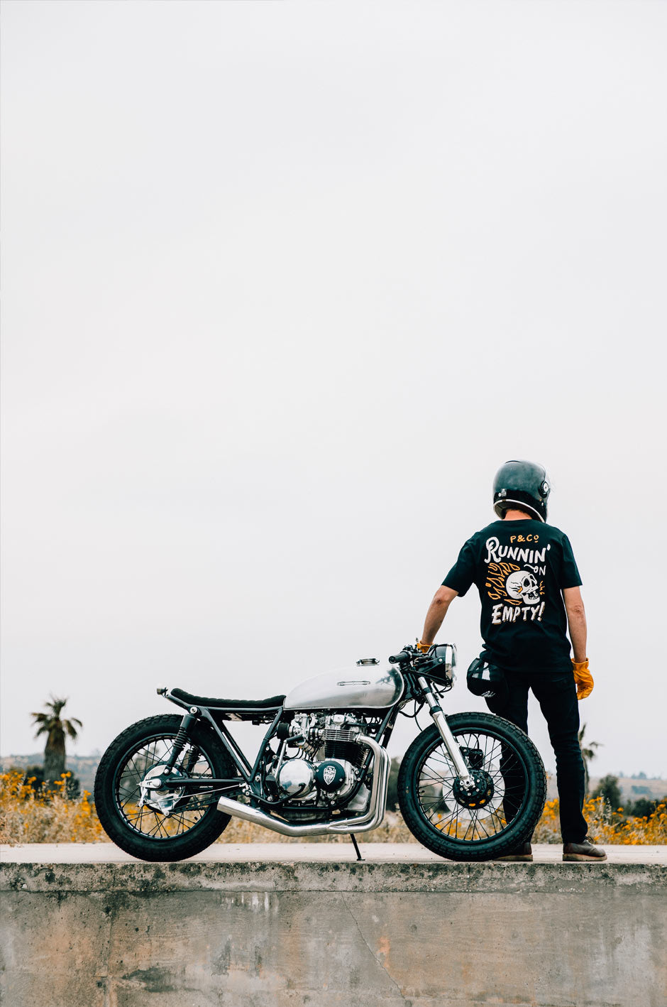 P&Co Runnin' On Empty T-Shirt with Cafe Racer Bike