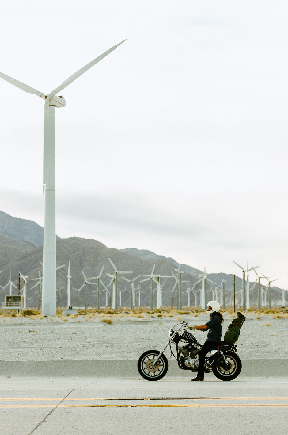 Paradise Roadshow 2020 - Motorbike with wind turbines in background