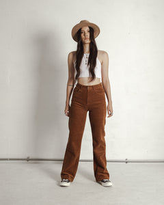 Cord Wide Leg Trousers - Rust