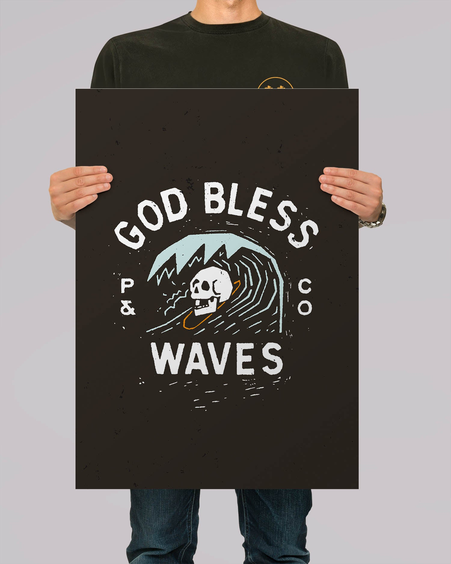 God Bless Waves Black A2 Artwork Print