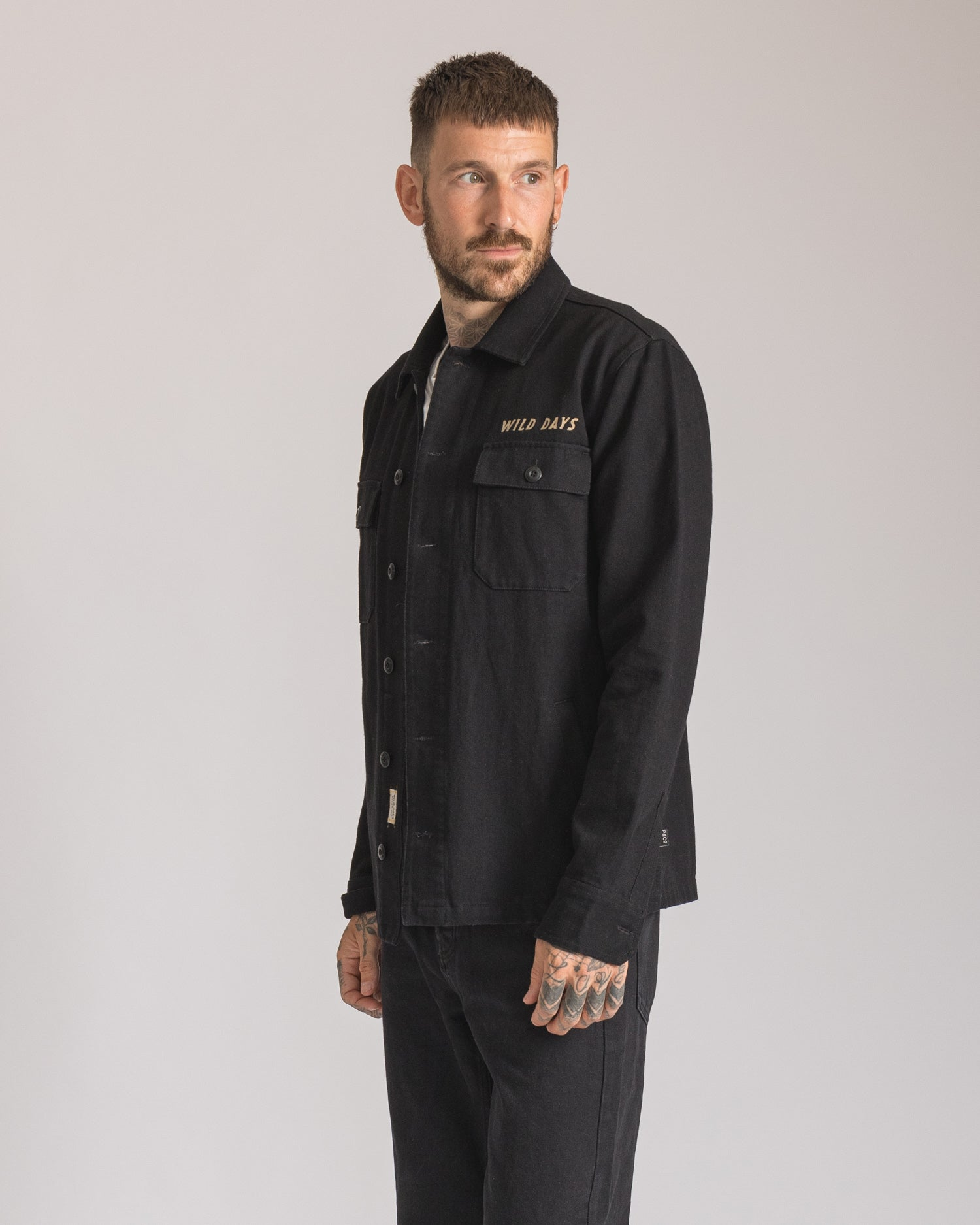 Mens Black Embroidered Overshirt UK