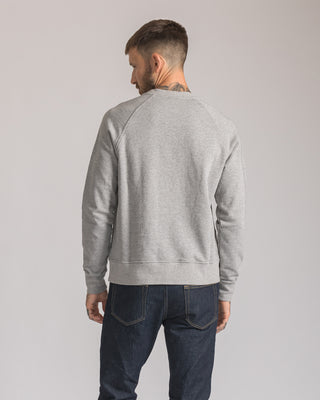 Mens Grey Crew neck sweatshirt with Patch Stitched