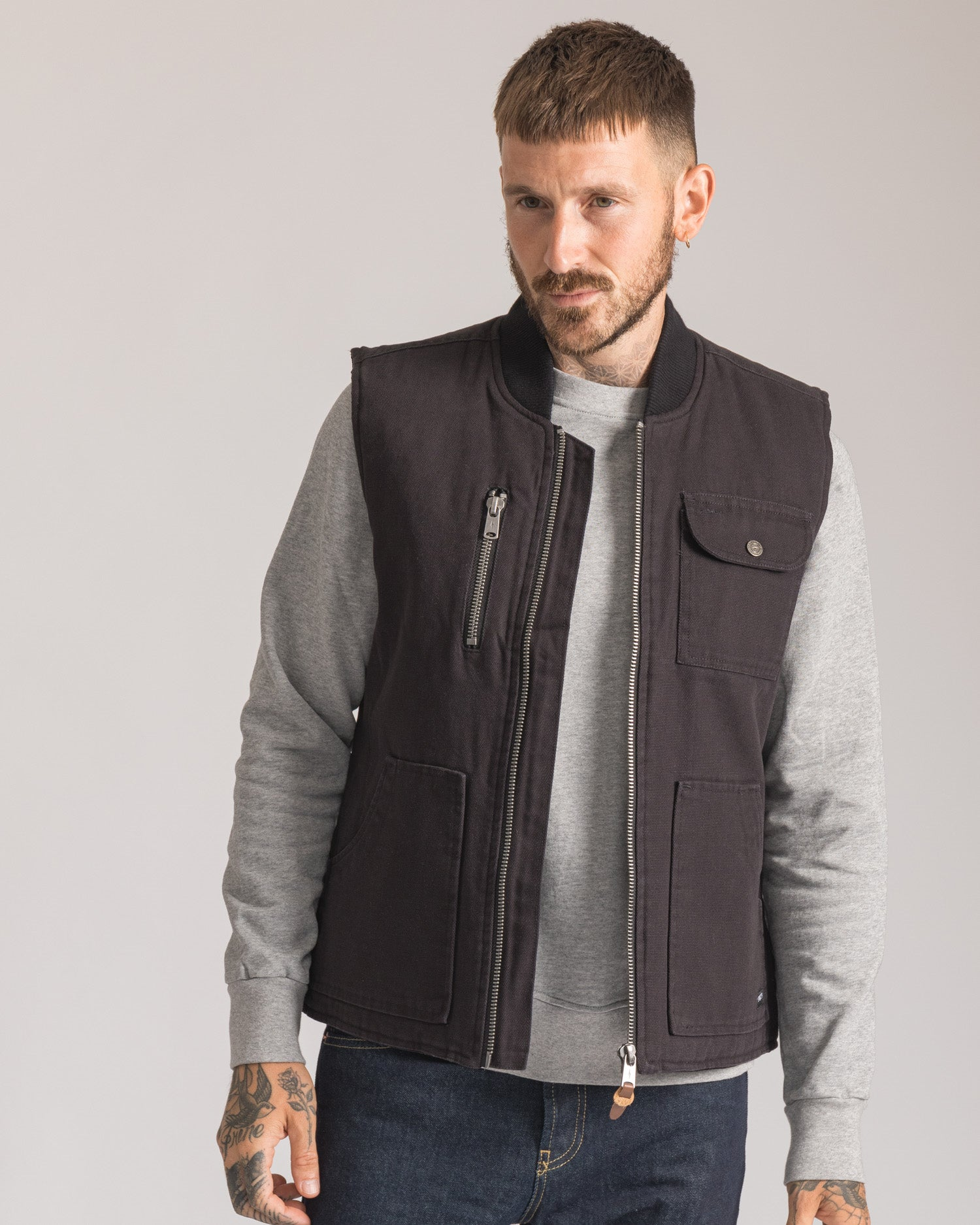 Mens Outerwear Black Cotton Gilet