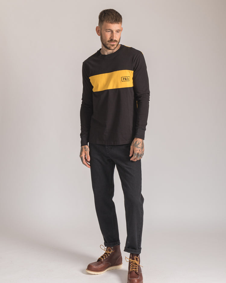 P&Co Rider Long sleeve in Black & Yellow