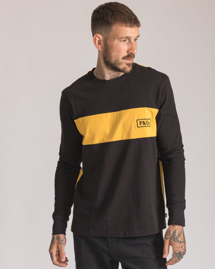 Mens Rider Long sleeve in Black & Yellow