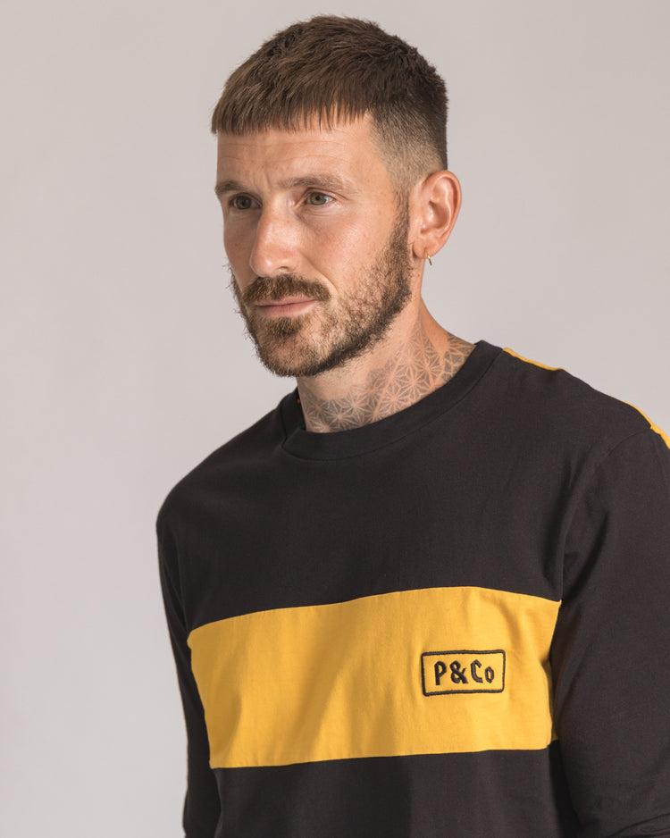 P&Co Rider Long sleeve in Black & Yellow Mens