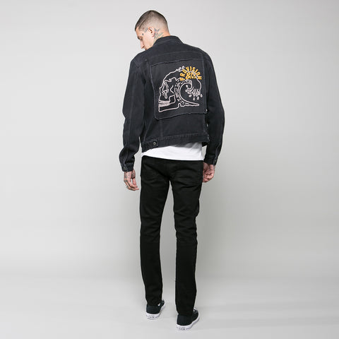 P&Co dark daze denim jacket in oil washed black