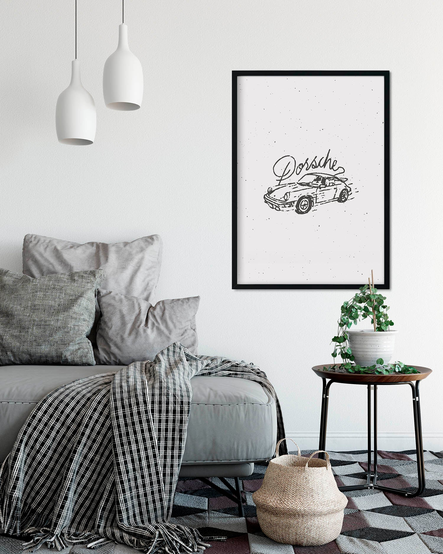 Porsche White A2 Artwork Print