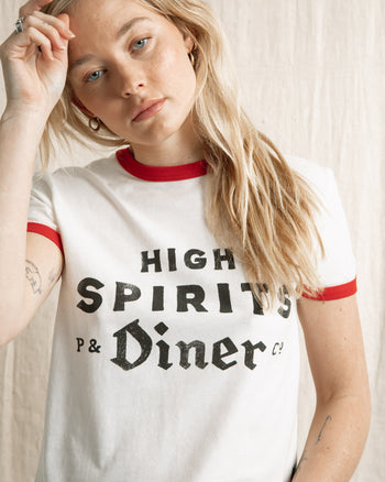 high spirits ringer graphic t-shirt by P&Co