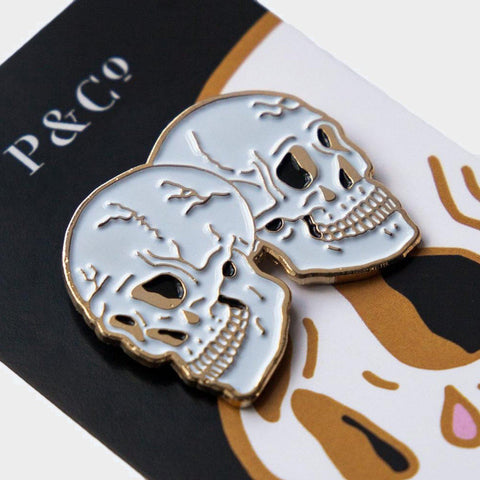 Twin Skull Enamel Pin