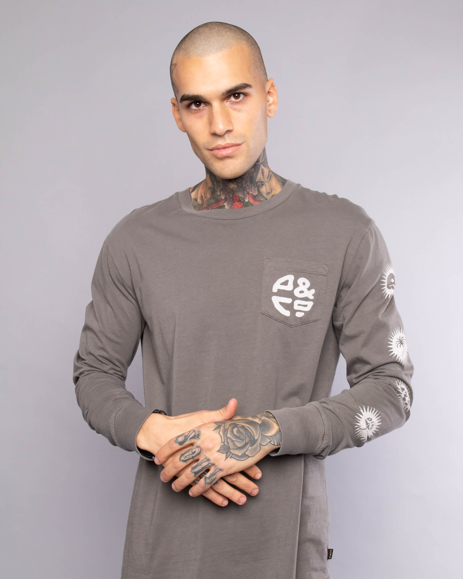 Sun Sign Mens Long Sleeve Grey T-Shirt