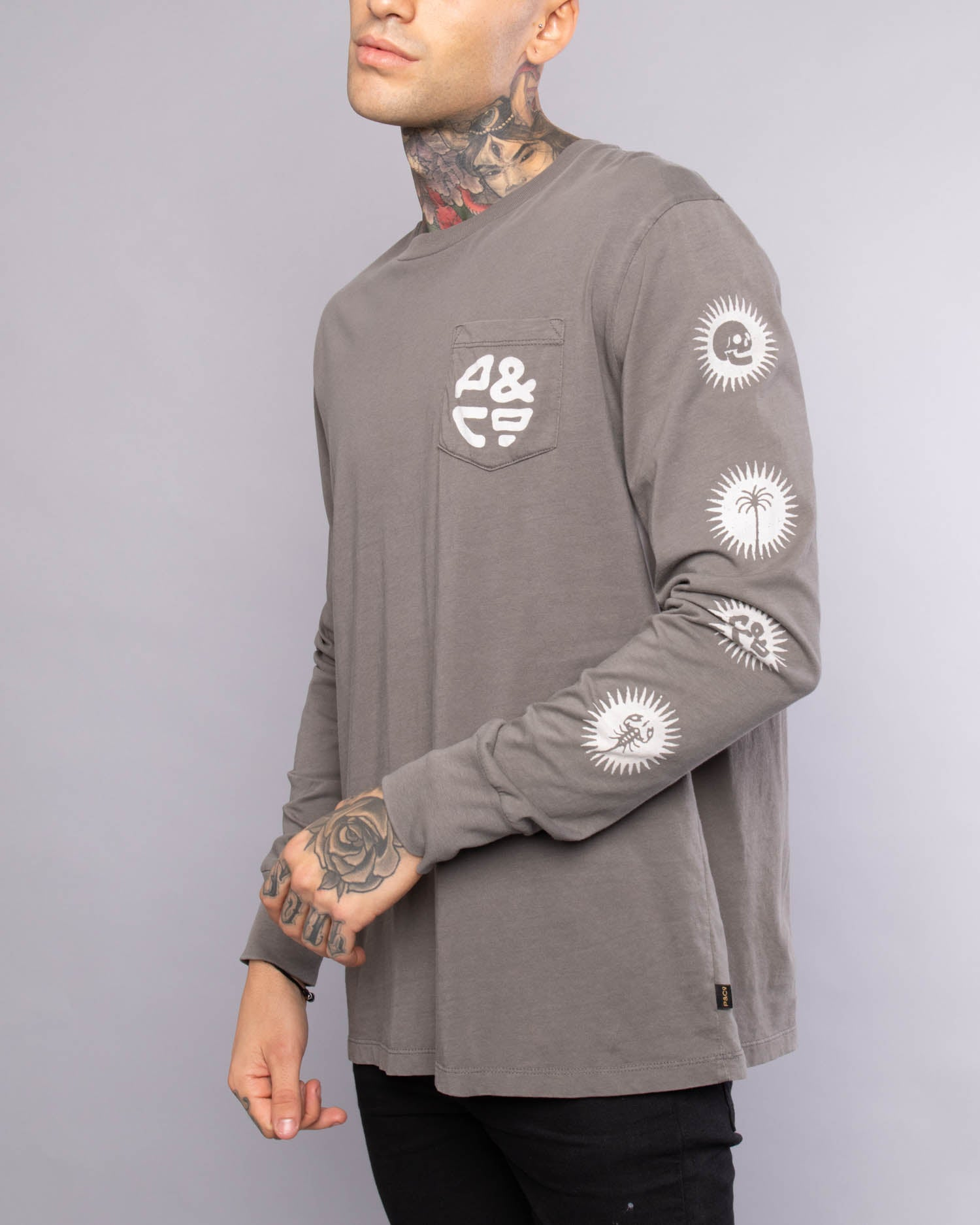 Grey Long Sleeve Mens Tshirt