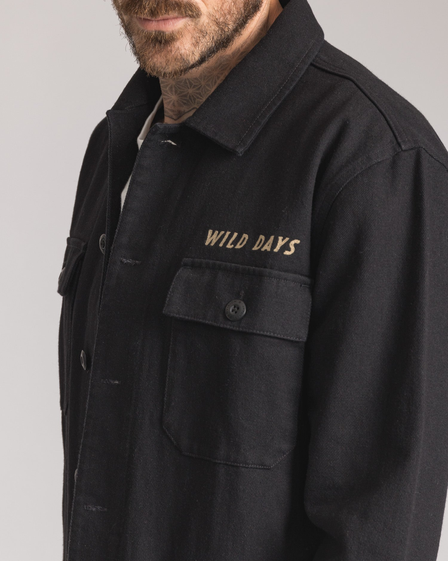Mens Black Embroidered Casual Overshirt