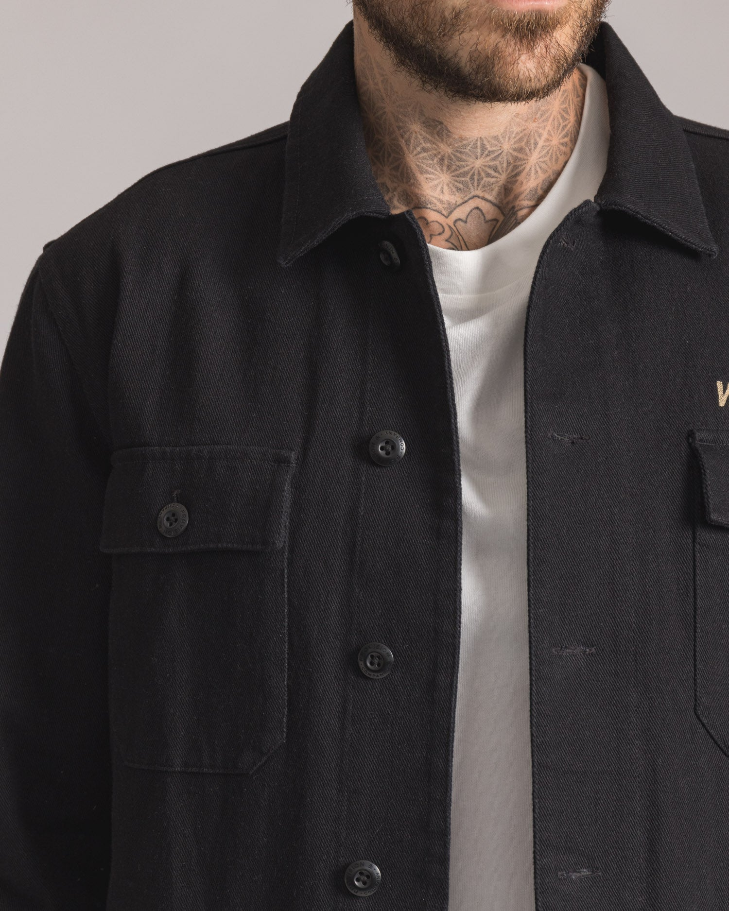 Mens Black Overshirt with Button Pocket