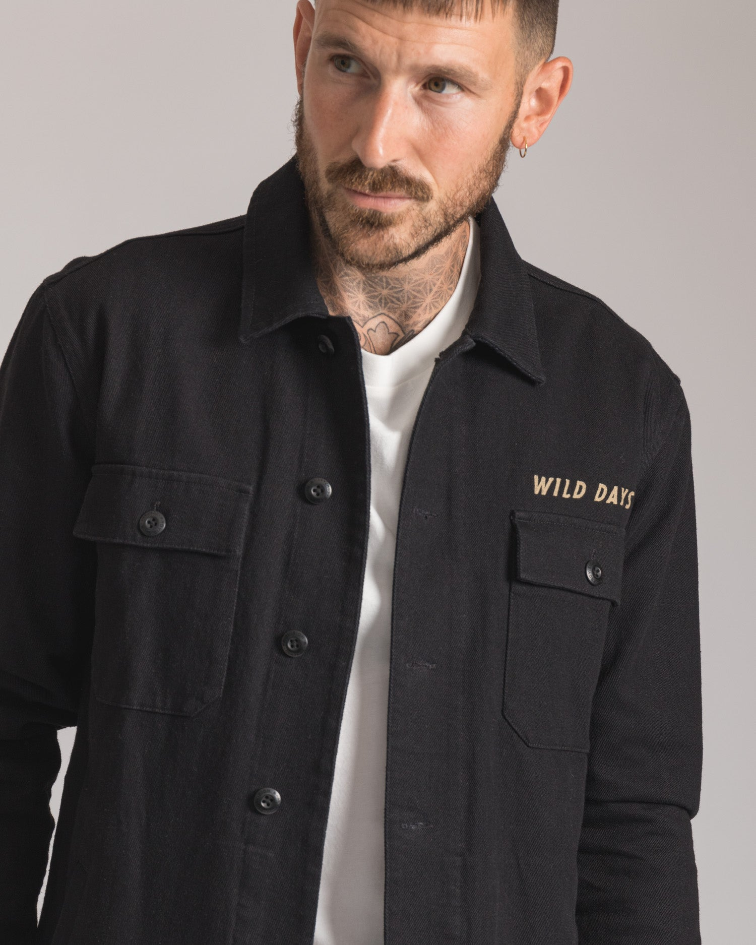 Mens Black Embroidered Overshirt