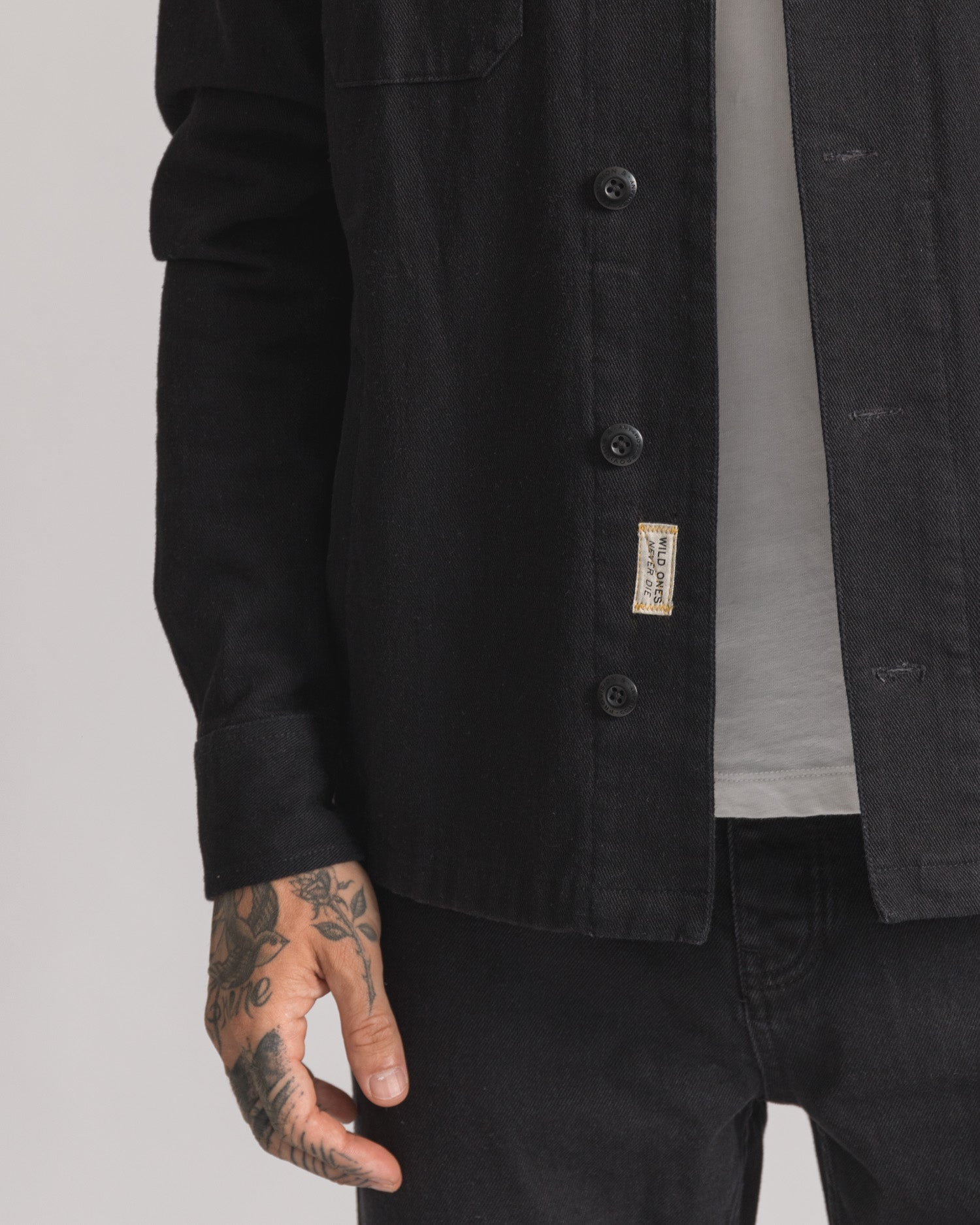 Mens Black Embroidered Casual Overshirt with Tab
