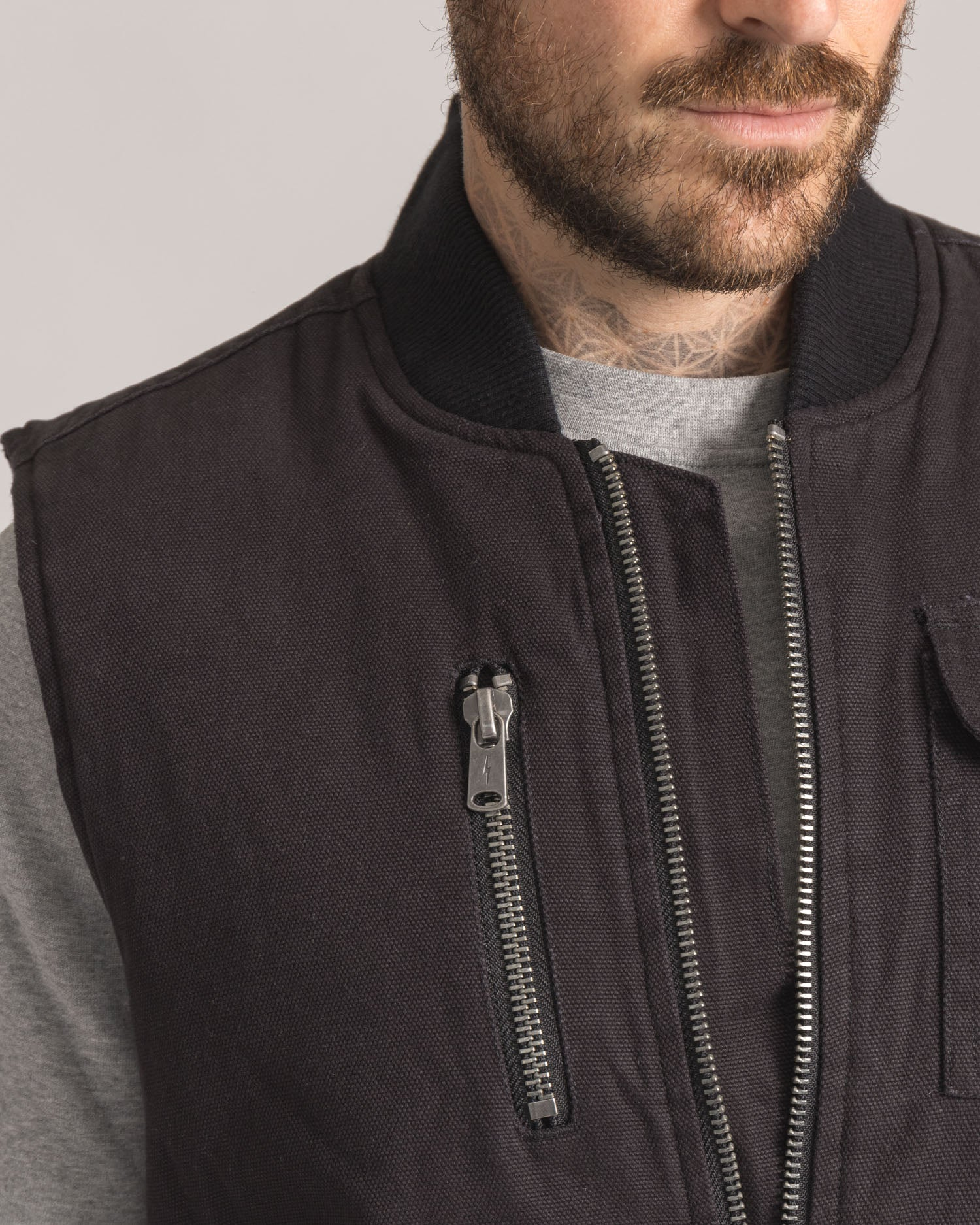 Zip Pocket on a Black cotton Gilet