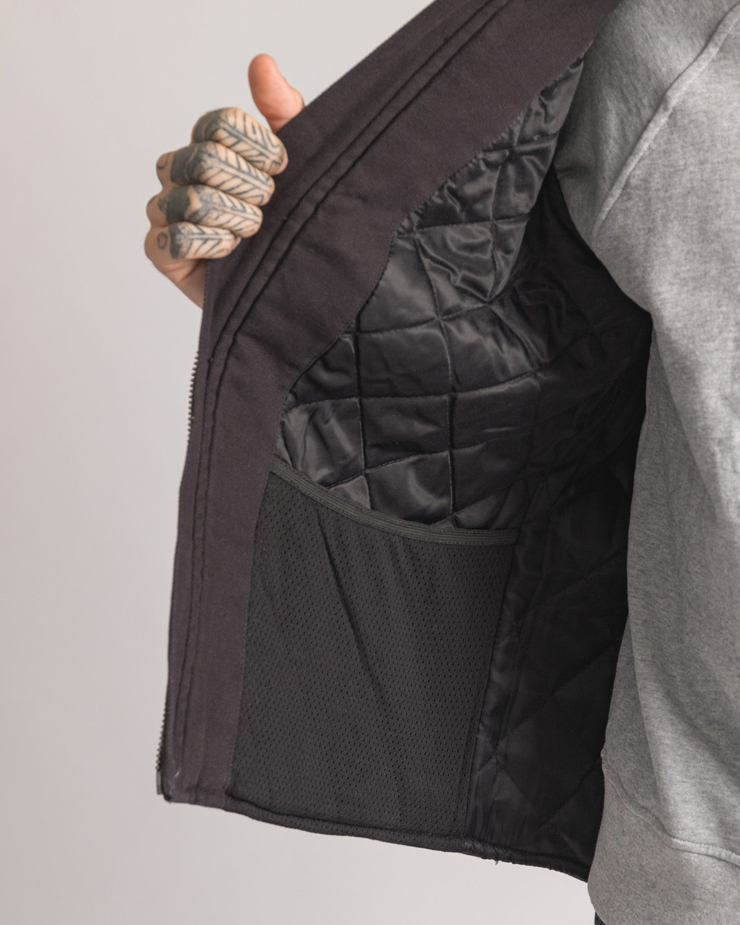 Inner Pocket on black cotton gilet