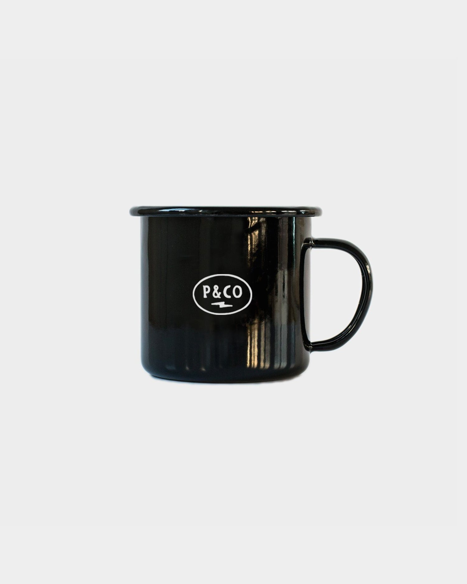 In Caffeine We Trust Black Enamel Mug
