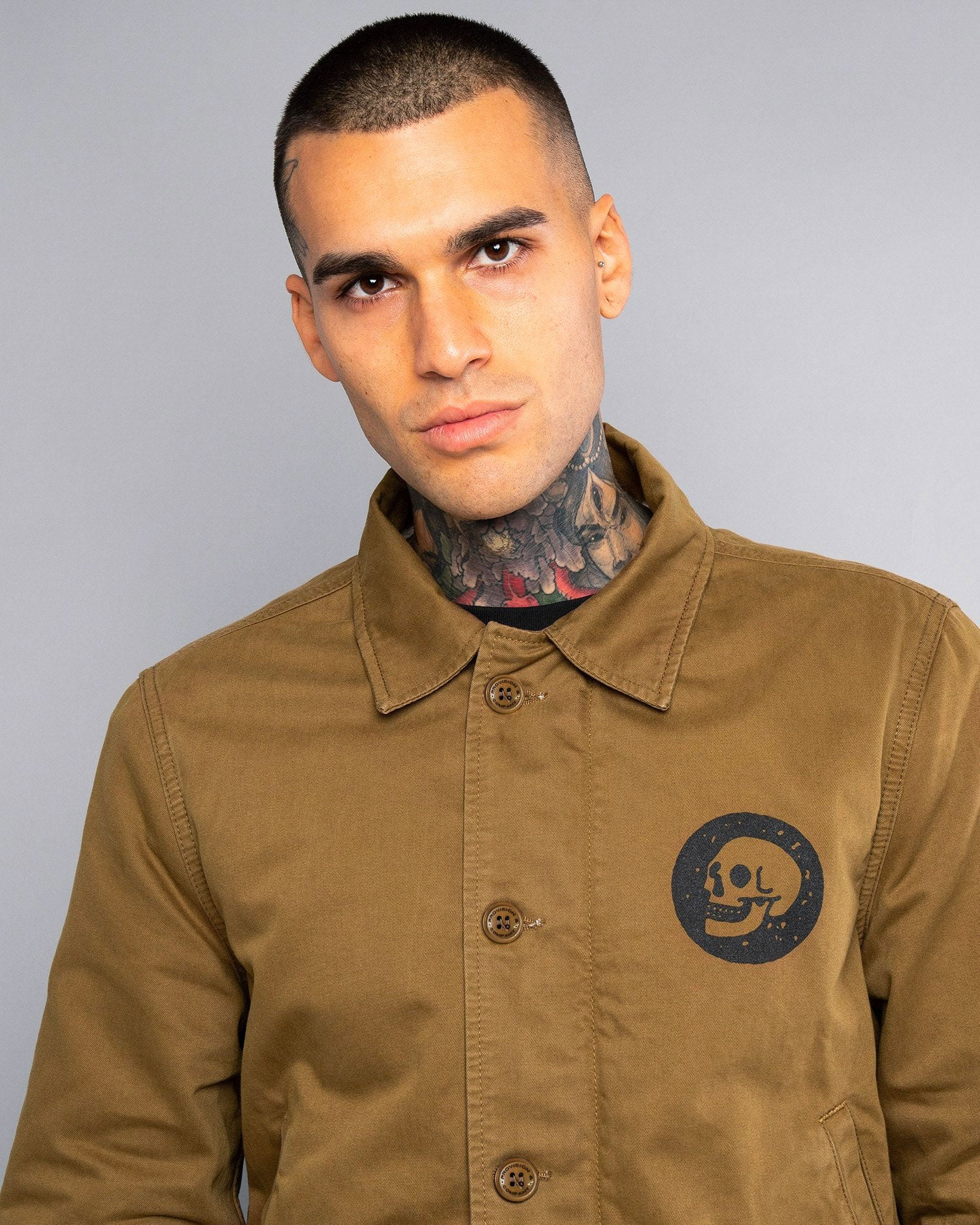 Mens A2 Skulls Deck Winter Jacket in Olive