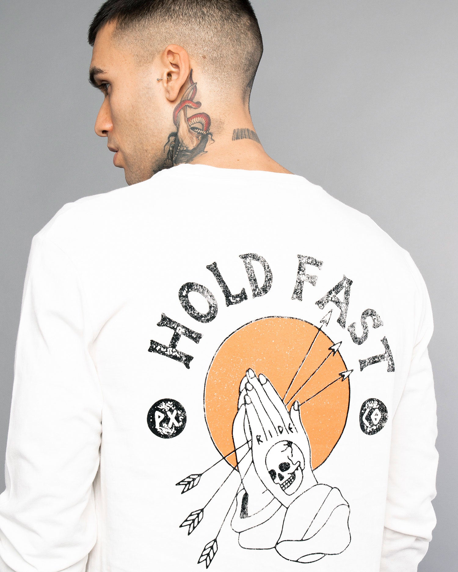 Hold Fast Longsleeve Mens White T-Shirt