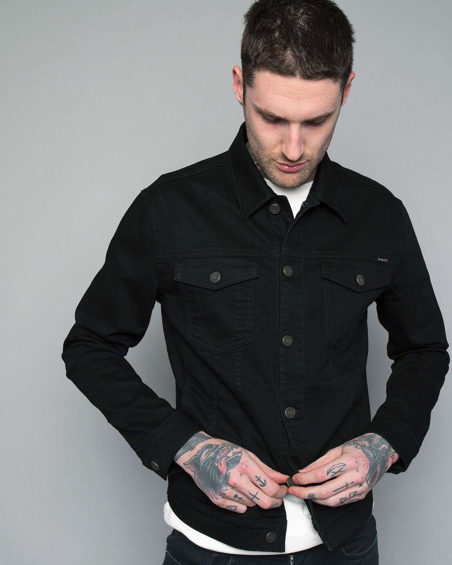 Mens Black Denim jacket P&Co