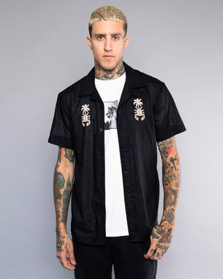 Strikes Twice Mens Black Embroidered Bowling Shirt