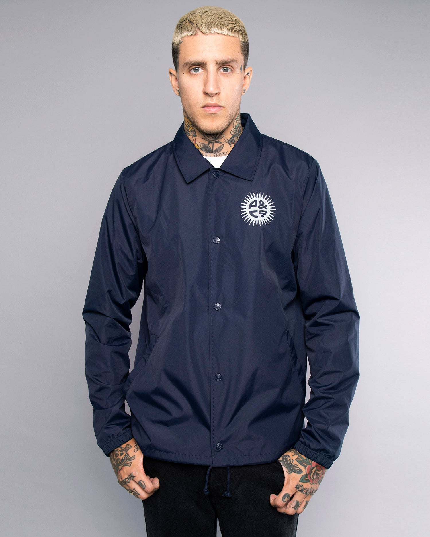 Mens Keepin' On Ink Blue Coach Jacket