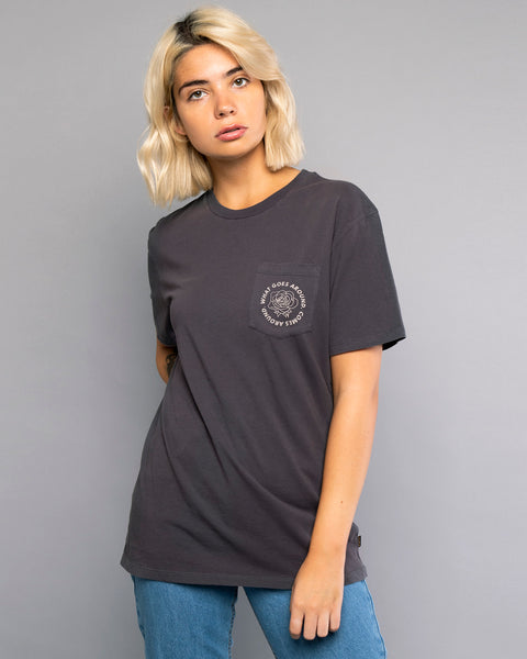 What Goes Around Womens Grey Tshirt