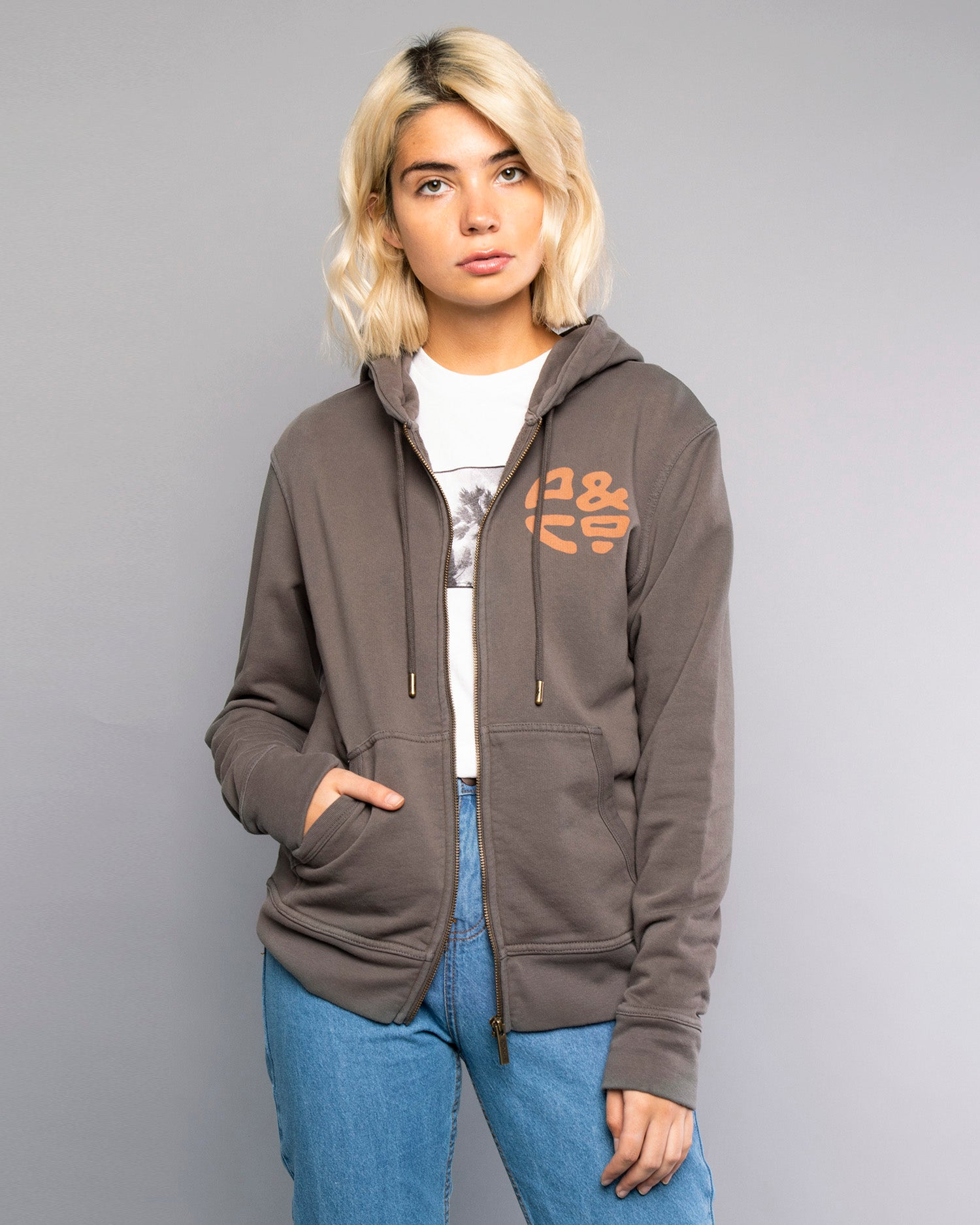 Womens Logo Zip Up Grey Hoodie