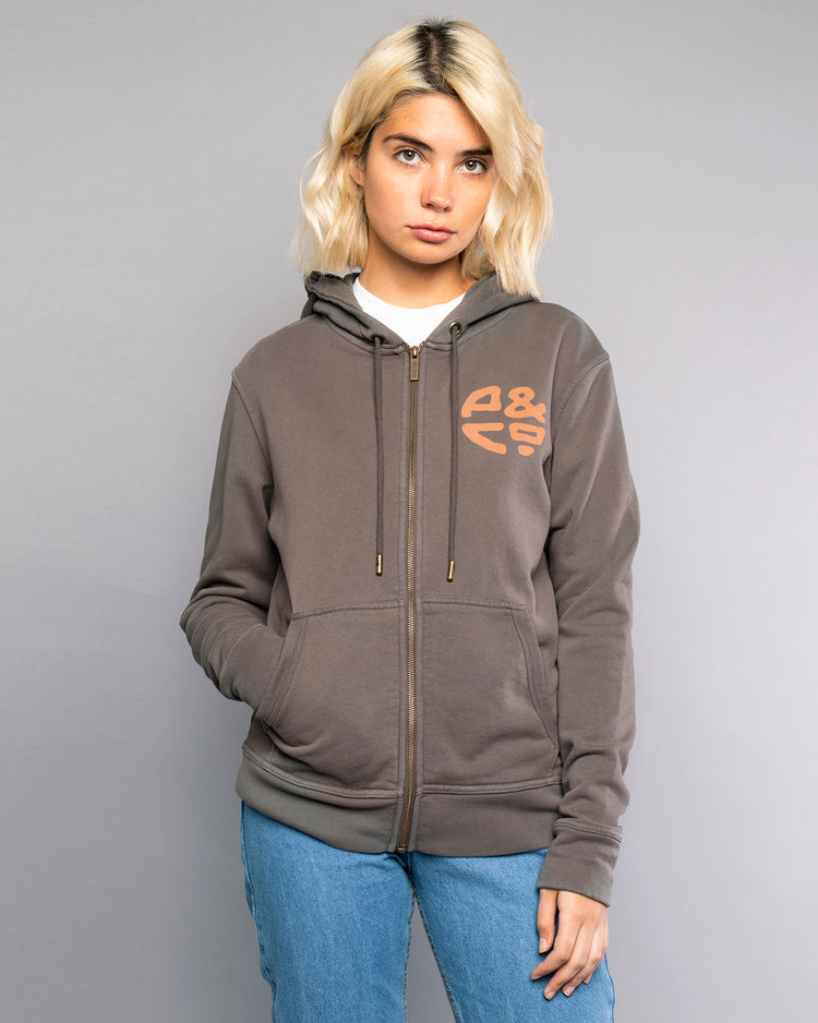 Off-Black Womens Zip up Hoodie