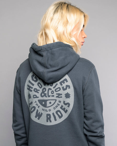 High Tides Low Rides Printed Grey Hoodie