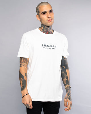 Karma Club Mens Vintage White Printed T-Shirt