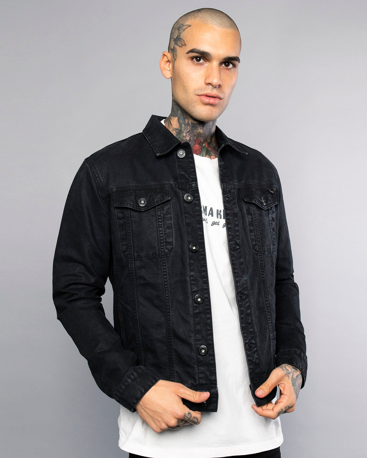 Core Waxed Mens Black Canvas Jacket