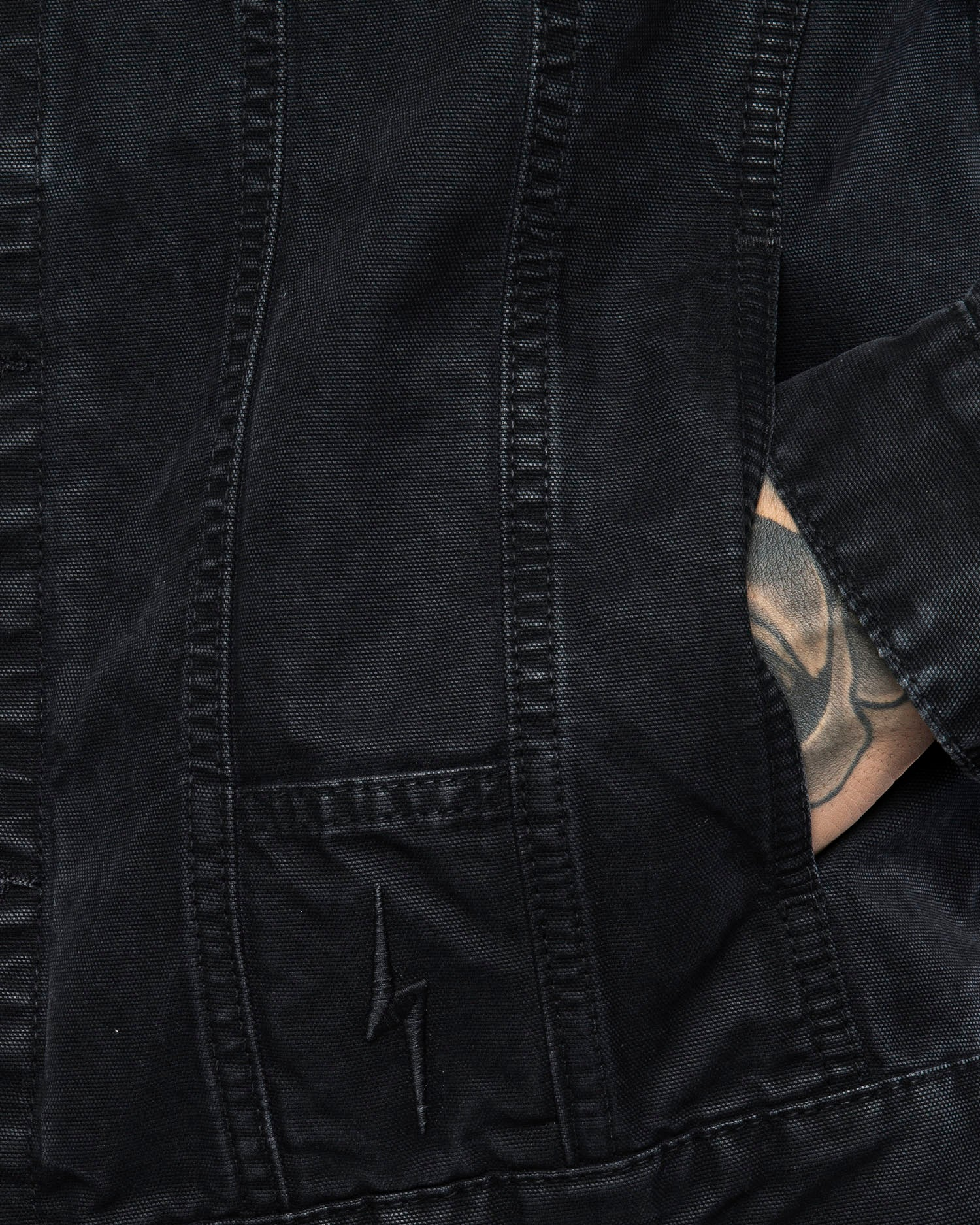 Details Core Waxed Mens Black Canvas Jacket