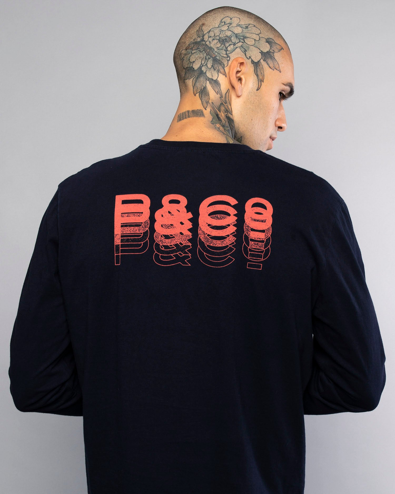 Fade Away Navy Long Sleeve Mens T-Shirt