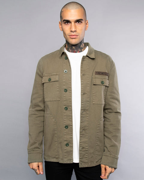 Snakebite Mens Olive Military Overshirt