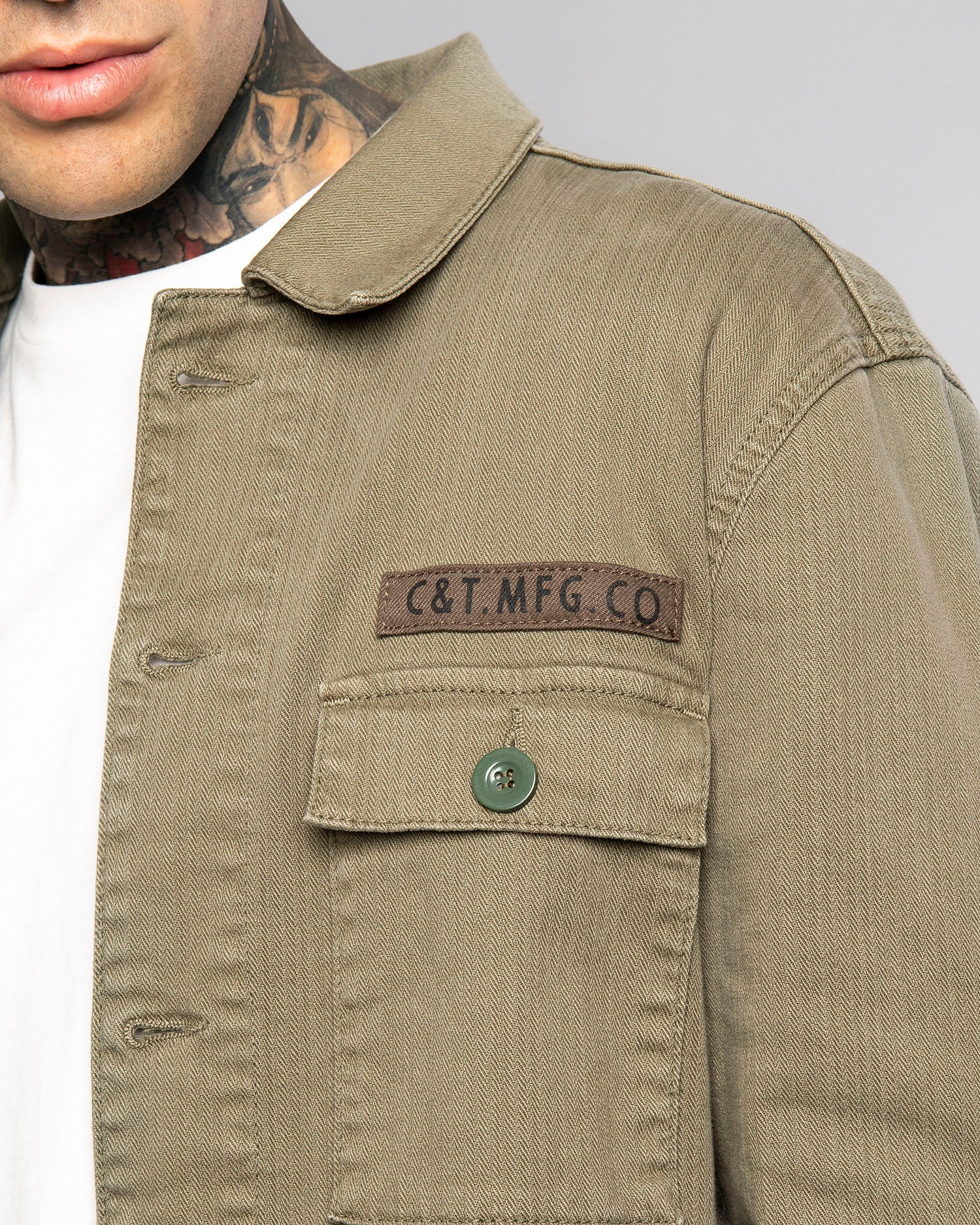 Mens Military Olive Overshirt