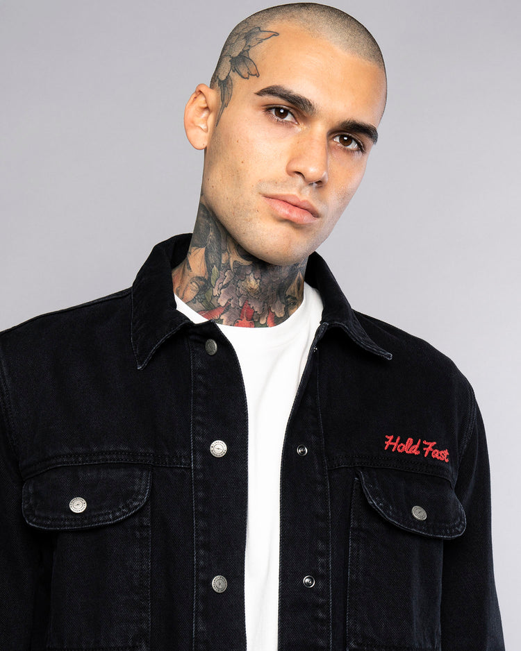 Hold Fast Mens Embroidered Overshirt