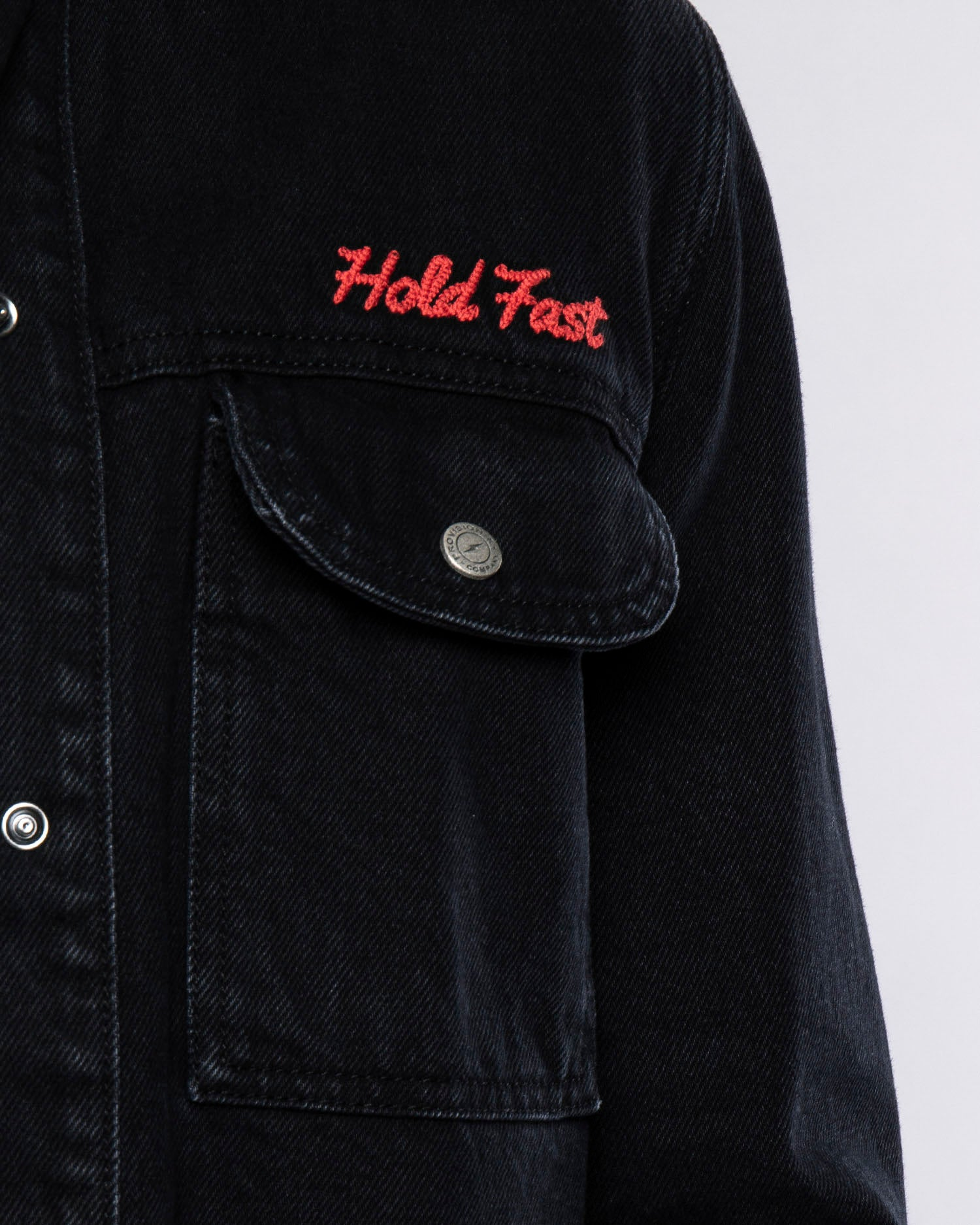 Mens Hold Fast Black Embroidered Overshirt