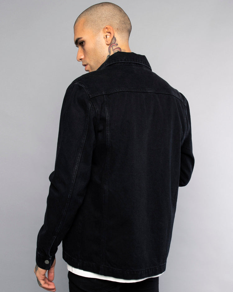 Hold Fast Mens Black Embroidered Overshirt