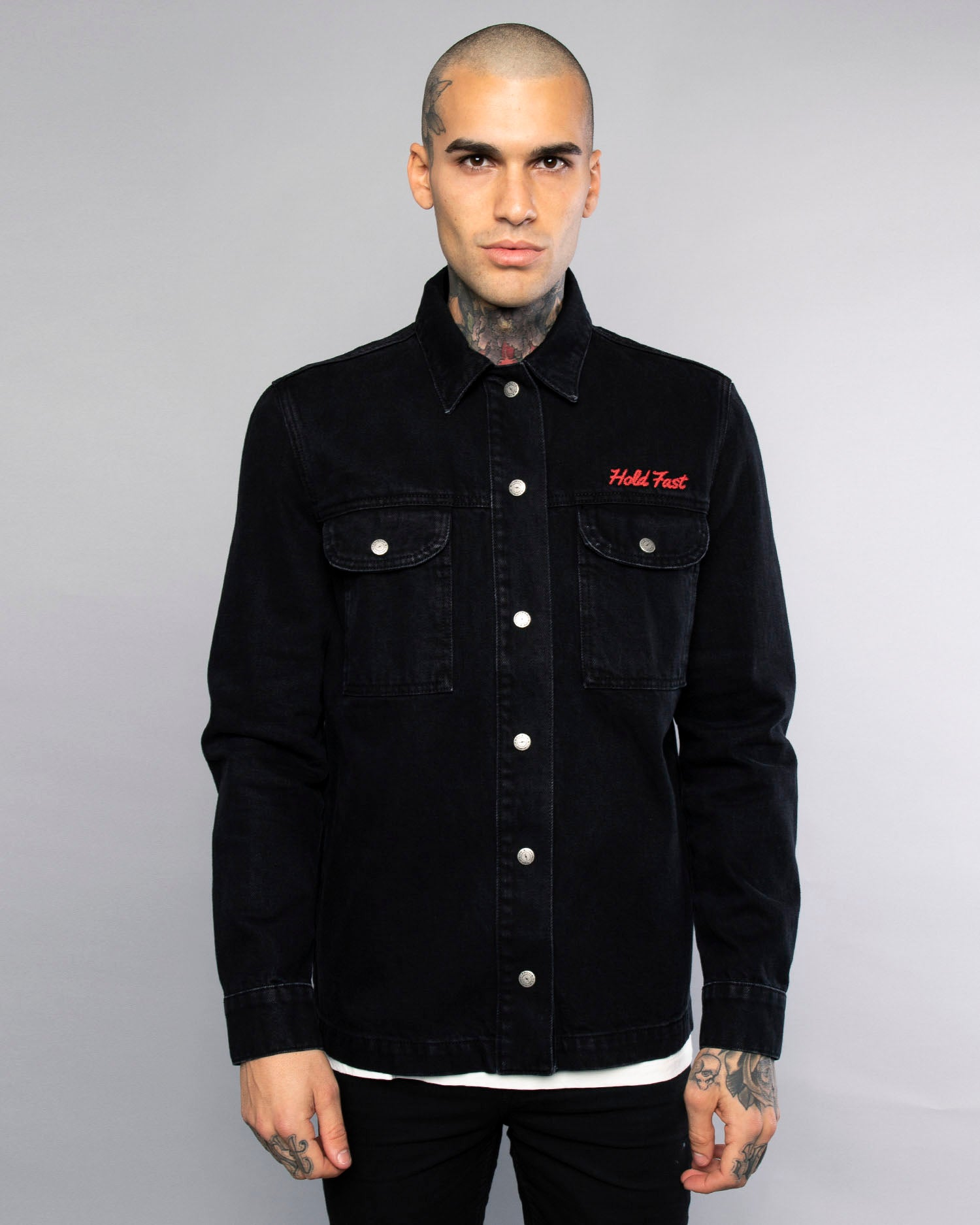 Hold Fast Black Embroidered Overshirt