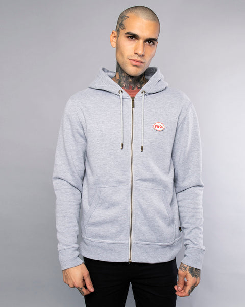 Mechanic Mens Grey Zip Up Hoodie