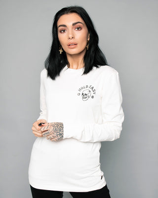 Hold Fast Longsleeve Womens White Tee
