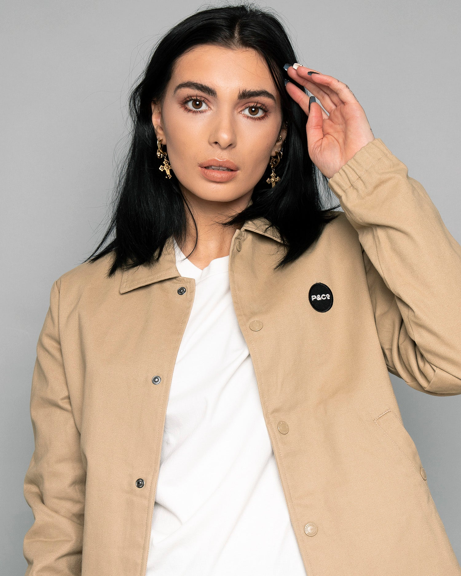 Womens P&Co Logo Stone Coach jacket