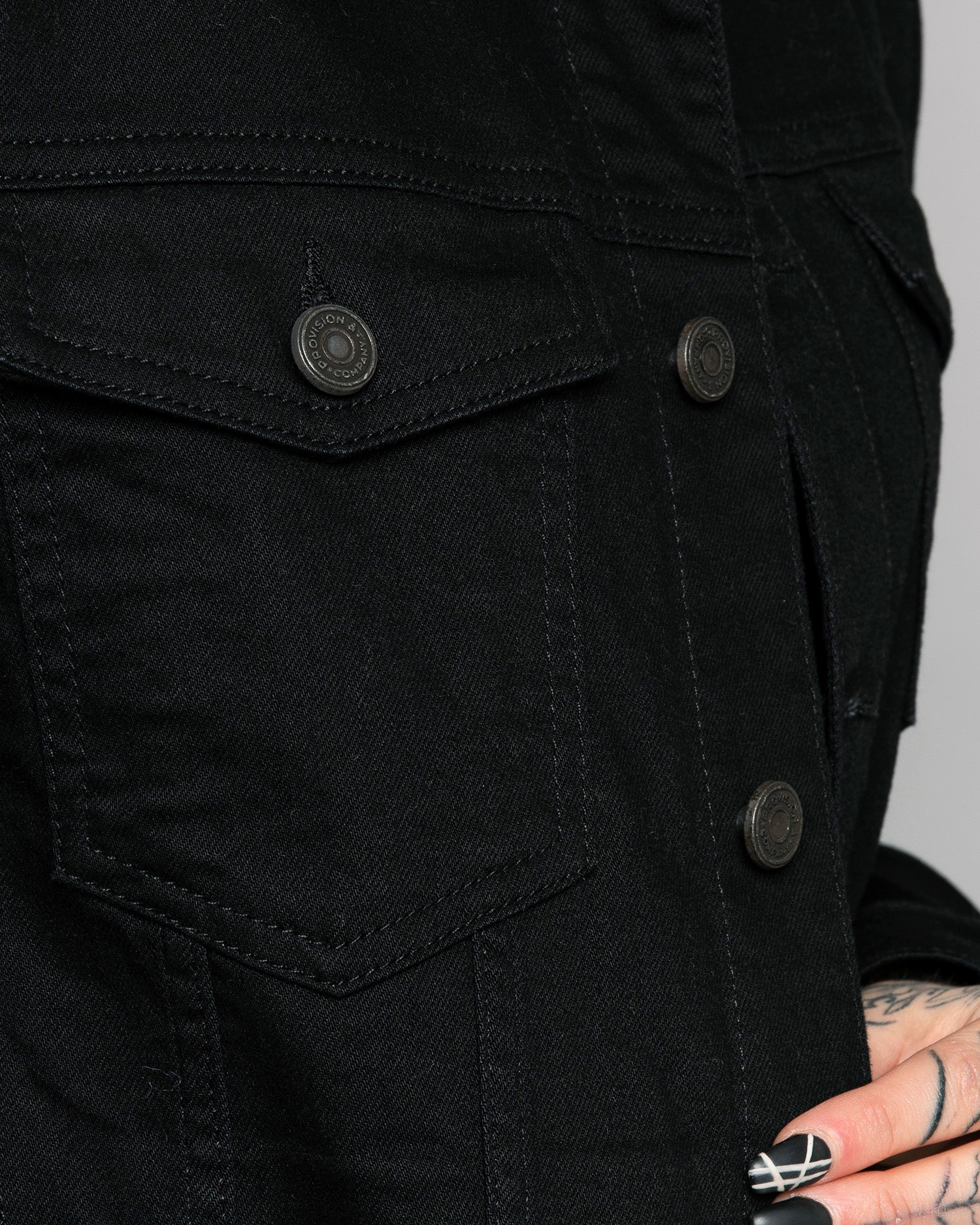 Origin Black Denim Jacket Custom Buttons